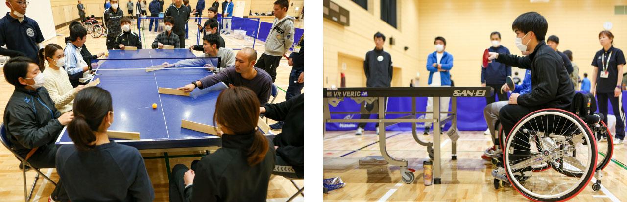 卓球バレーの様子と車いすに乗って卓球をプレイする男性